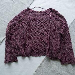 Free People Purple Knit Sweater Size Small